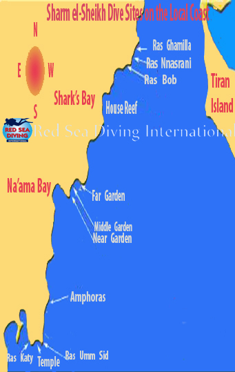 Our Favorite Local Diving Sites in Sharm el-Sheikh - Descriptions & Photos Below The Map