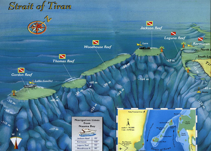 <br>Map of Tiran diving sites in Sharm el-Sheikh
